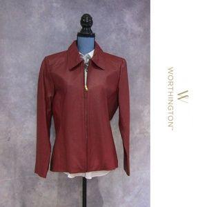 Worthington Red Leather Zip Jacket Size L